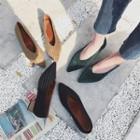 Corduroy Chunky-heel Pumps