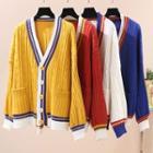 Buttoned Contrast-color Cardigan