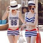 Set: Striped Bikini + Tank Top