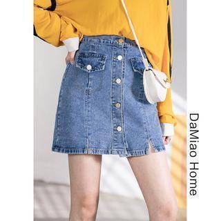 Button-down Slited Denim Skirt