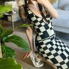 Sleeveless Check Midi Knit Dress