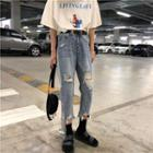 Lettering Washed Ripped Cropped Jeans