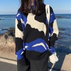 Patterned Crew-neck Sweater As Shown In Figure - One Size