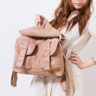 Faux-leather Belted Backpack