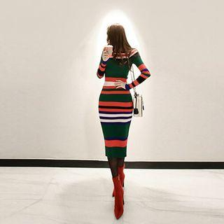 Long-sleeve Striped Midi Sheath Knit Dress Stripes - Multicolor - One Size