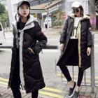 Hooded Applique Long Padded Jacket