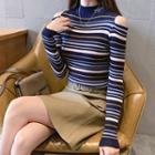 Cold-shoulder Striped Ribbed Knit Top