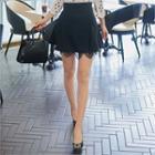 Layered Lace-trim Skirt