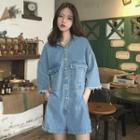 3/4-sleeve Denim Playsuit