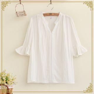 Elbow Sleeve V-neck Blouse