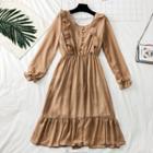 Ruffled-trim Chiffon A-line Dress