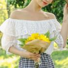 Off-shoulder Lace Elbow-sleeve Top