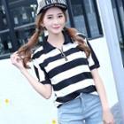 Striped Short-sleeve Zip Polo Shirt