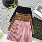 Faux-suede Pleated Skirt