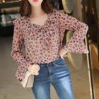 Ruffle-collar Leopard Chiffon Top