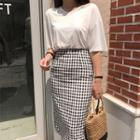 Check Pencil Midi Skirt
