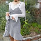 Sleeveless Tie-waist Check Wrap Dress