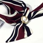 Beaded Striped Ribbon Necklace