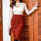 Set: Cutout Lace Top + Pencil Skirt
