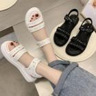 Tweed Adhesive Strap Platform Sandals