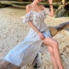 Short-sleeve Cold Shoulder Patterned A-line Slit Maxi Dress