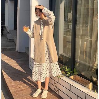 Long-sleeve Tie-neck Dotted Midi Dress / Knit Vest / Set