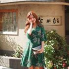 Elbow-sleeve Floral Print Wrap A-line Dress