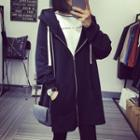 Plain Hooded Zip Long Jacket