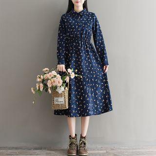 Long-sleeve Leaf Print Corduroy A-line Shirt Dress