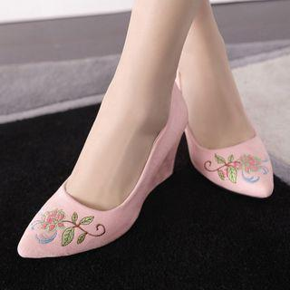 Floral Embroidered Pointed Wedges