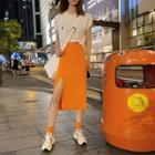 High-waist Split Hem Plain Skirt