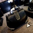 Faux-leather Studded Satchel