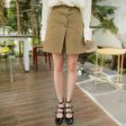 Button-detail Slit-front Skirt