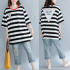 Elbow-sleeve Stripe Panel Loose-fit T-shirt