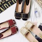 Buckled Square Toe Patent Flats