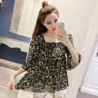 Floral Print Shirred Elbow-sleeve Chiffon Blouse