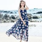 Floral Strappy Maxi Chiffon Dress