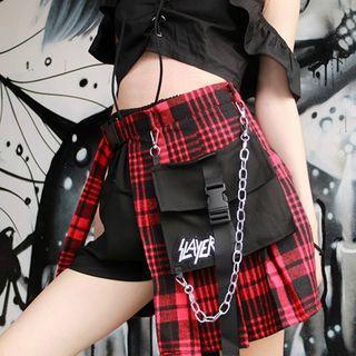 Set: Plaid Skirt + Shorts + Belt Bag