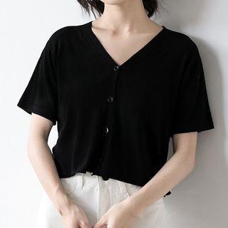 V-neck Short Sleeve Cropped Top Black - M