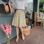 Pleated Patterned A-line Skirt