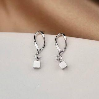 925 Sterling Silver Cube Dangle Earring 1 Pair - Silver - One Size
