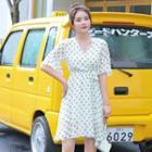 Ruffle-sleeve Sweetheart Patterned Mini Chiffon Dress