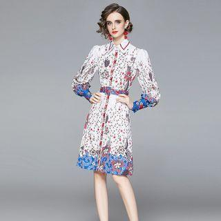 Long-sleeve Floral Midi A-line Shirtdress