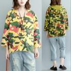 3/4-sleeve Hooded Floral Pullover