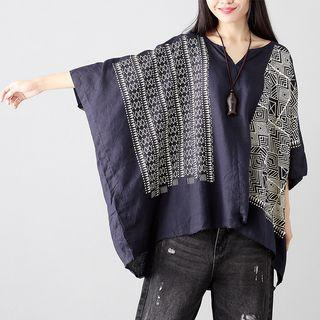 3/4-sleeve Patterned Panel Oversized Top