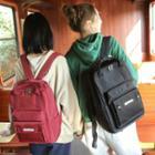 Lettering Plain Nylon Backpack