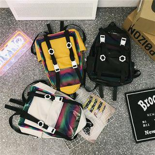 Color Block Pvc Panel Backpack