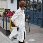 Slit-side Striped Shirtdress