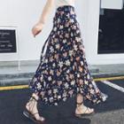 Flower Print Chiffon Maxi Skirt