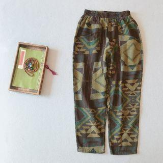 Printed Linen Harem Pants As Shown In Figure - One Size